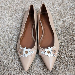 Coach Floral Applique Leather Pointed Toe Flat 8